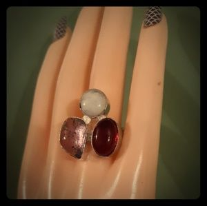 Jewelry - Handmade Ethnic Amethyst, Coral & Moonstone Ring
